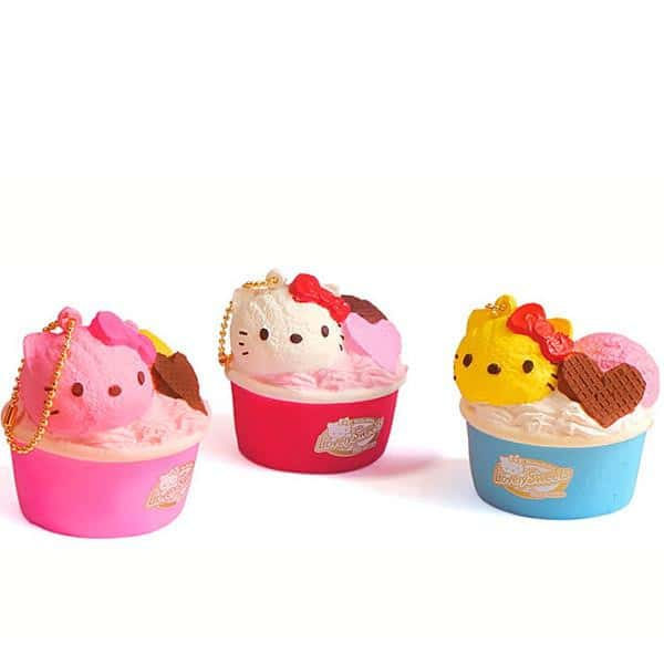 Sanrio Hello Kitty Squishy Lovely Sweets Series Ice Cream Cup Ball Chain - Hamee - 1