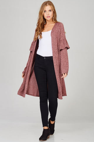 Light Burgundy Ruffle Cardigan