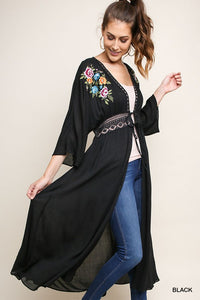 Embroidered Floral Duster