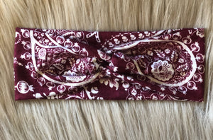 Burgundy Paisley Headwrap