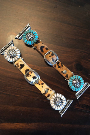 Leopard Hide Watch Band - Turquoise Stone