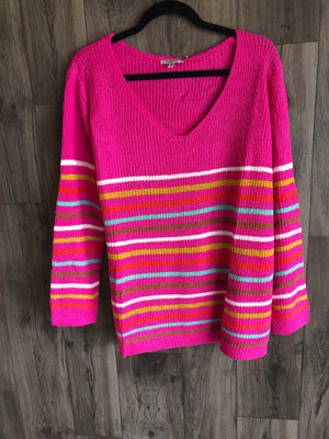 Hot Pink Striped Sweater