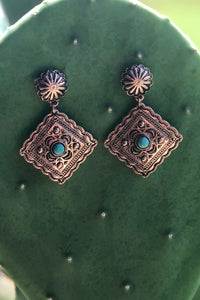 Bronze Diamond Concho Earrings