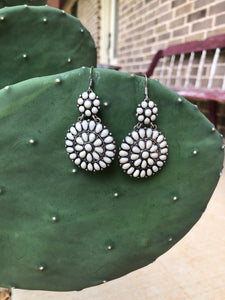 White Flower Stone Earrings
