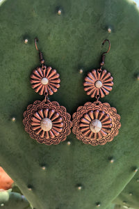 Bronze Bone Concho Earrings