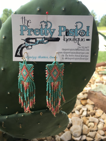 Turquoise & Peach Beaded Earrings