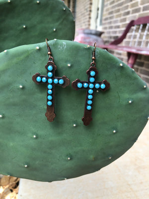 Bronze Turquoise Cross Earrings