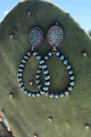 Stud Turquoise & Bronze Tear Drop Earrings