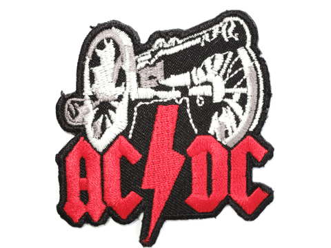 "ACDC AC/DC Canon Iron On Embroidered Patch 2.6""/6.5cm"