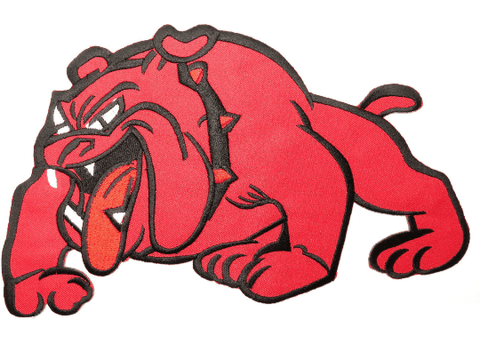 "BRITISH BULLDOG Red Iron On Embroidered Big Back Patch 9.7""/24cm"
