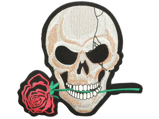 "Reaper Skull Rose Biker Hog Big Embroidered Back Patch 9.7""/24cm - A Patch E Store"
