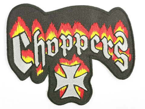 "CHOPPERS Flaming Maltese Cross Hog Biker Big Back Patch 6.6""/17cm - A Patch E Store"