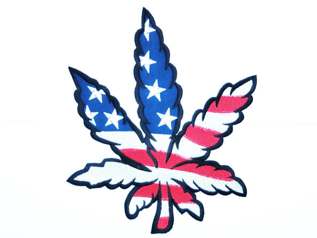 "USA Flag Marijuana Weed Leaf Big Embroidered Back Patch 9""/22.6cm - A Patch E Store"