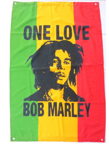 "ONE LOVE Rasta Bob Marley Reggae Flag With Eyelits 46"" - A Patch E Store"