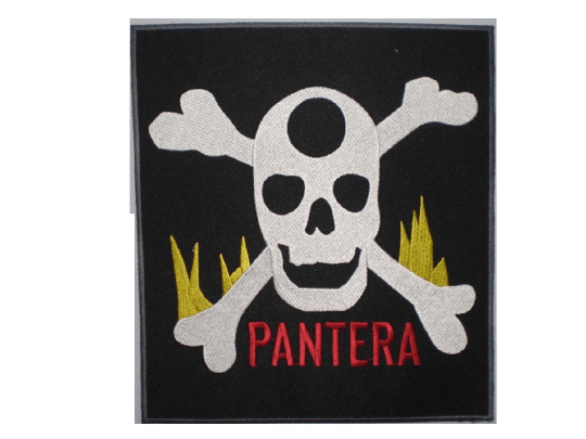 "PANTERA Skull Flame Big Embroidered Back Patch 8.2""/21cm - A Patch E Store"