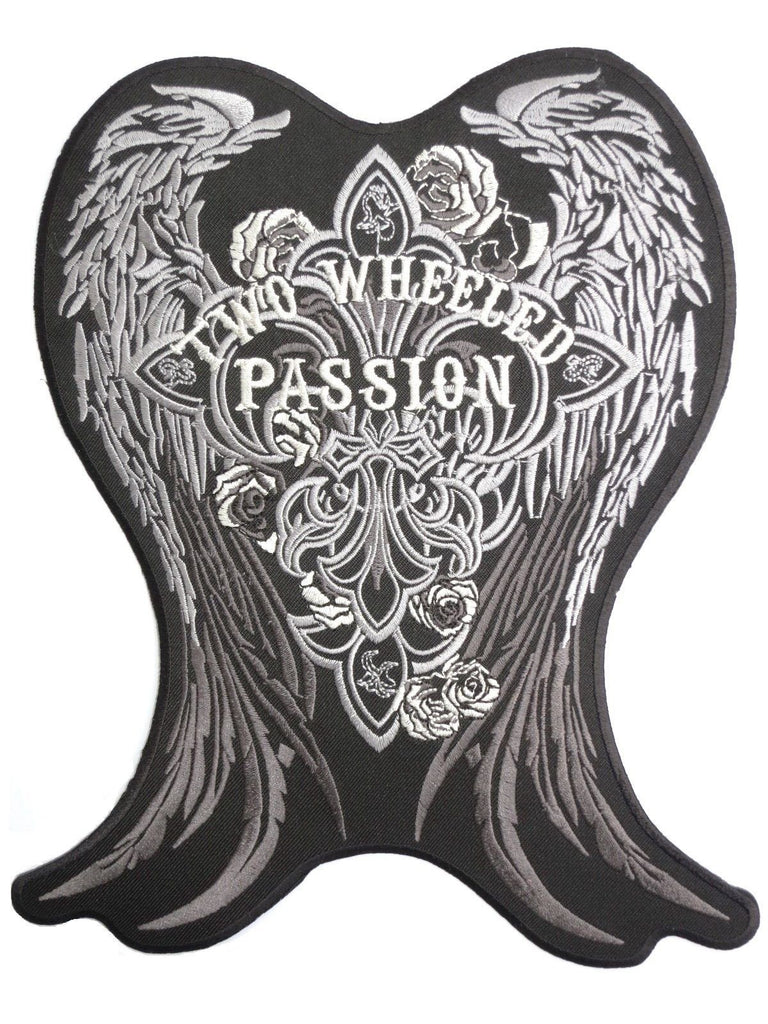 "Two Wheeled Passion Wings Big Embroidered Back Patch 9.6""/24cm - A Patch E Store"