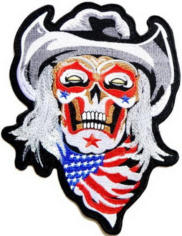 "Cowboy USA Flag Skull Biker Zombie Big XL Jacket Back Patch 10""/25cm - A Patch E Store"