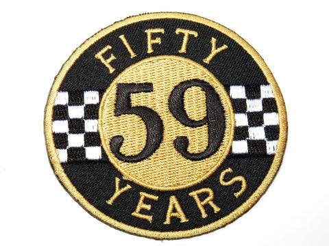 "59 Fifty Years Rockers Cafe Racer Biker Iron On Embroidered Patch 3""/7.5cm"