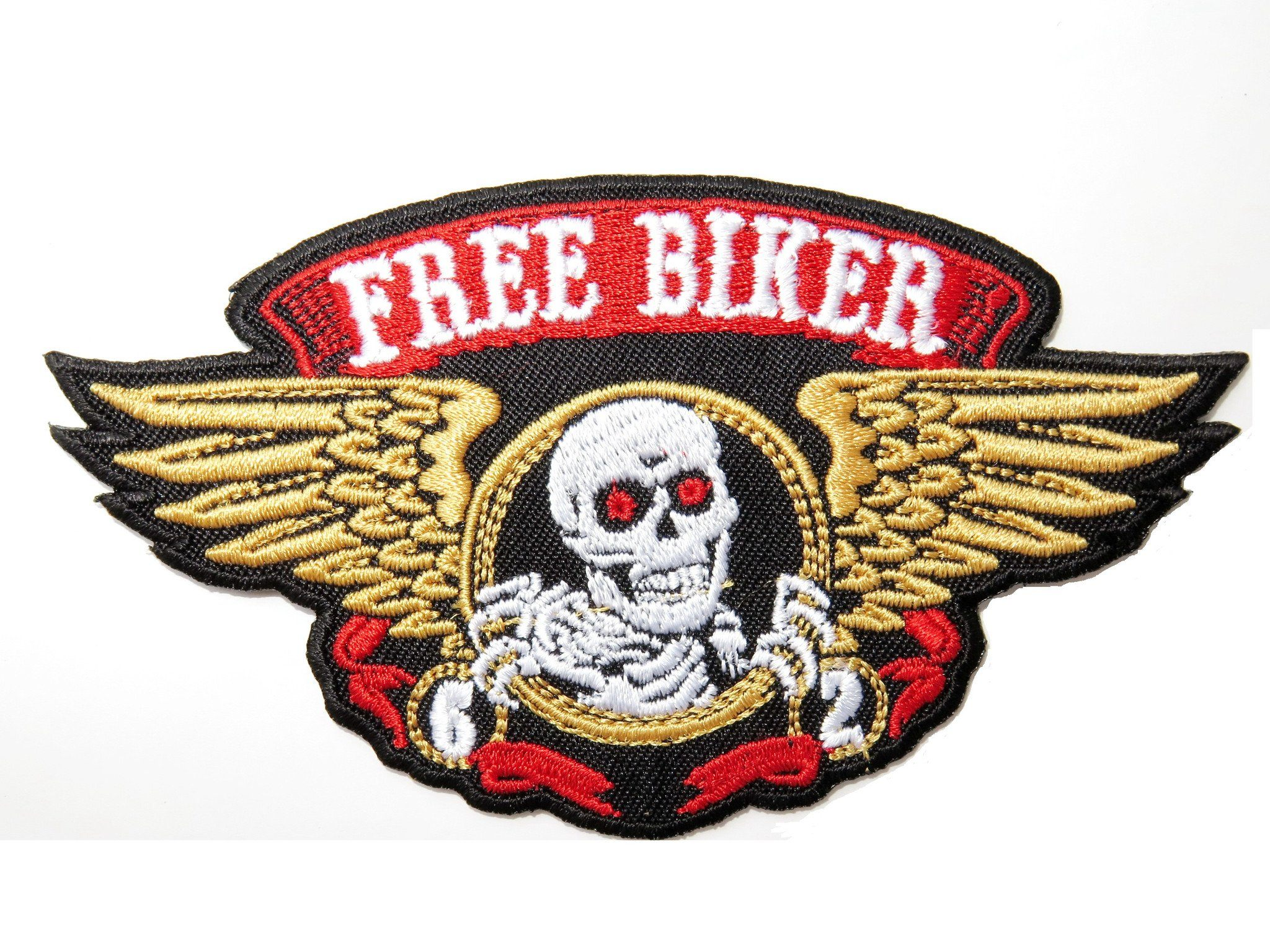 "FREE BIKER 62 Skull Wings Embroidered Iron On Patch 4.6""/12cm - A Patch E Store"