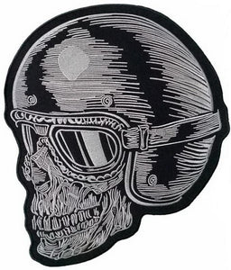 "Cafe Racer Biker Ton Up Rider Skull Helmet Giant XL Back Patch 12.5""/32cm - A Patch E Store"