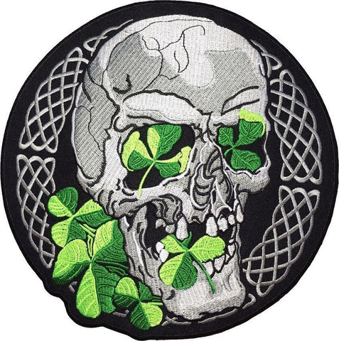 "Lucky Irish Celtic Clover Leaf Skull Embroider Big Back Patch 9""/22cm - A Patch E Store"