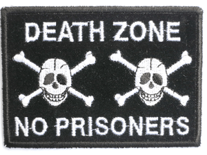 "DEATH ZONE No Prisoners Skull Sew On Embroidered Patch 3.6""/9.2cm - A Patch E Store"