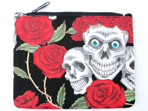 Skull Roses Rockabilly Goth Ladies Cosmetic Make Up Bag Purse Case