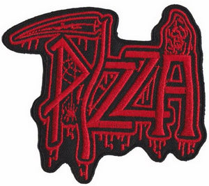 "DEATH Pizza Red Iron On Sew On Embroidered Metal Patch 3.5""/9cm - A Patch E Store"