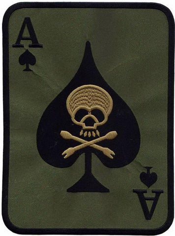 "Ace Of Spades Death Skull Card Biker Big Embroidered Back Patch 10""/25cm - A Patch E Store"