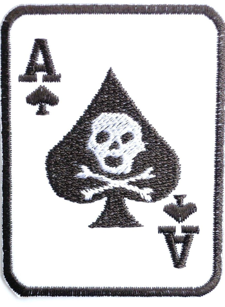 "ACE OF SPADES Death Card Iron On Embroidered Patch 2.9""/7cm - A Patch E Store"