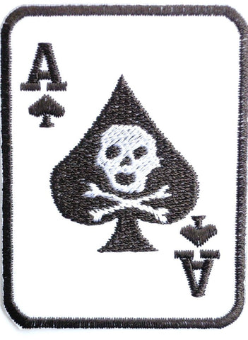 "ACE OF SPADES Death Card Iron On Embroidered Patch 2.9""/7cm"