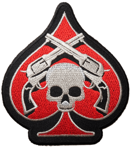 "Ace Skull Guns Outlaw Biker Embroidered Iron Patch 4.5""/11.5cm"