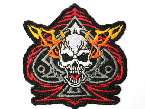 "Ace Of Spades Skull Biker Iron On Embroidered Patch 3""/7.8cm"