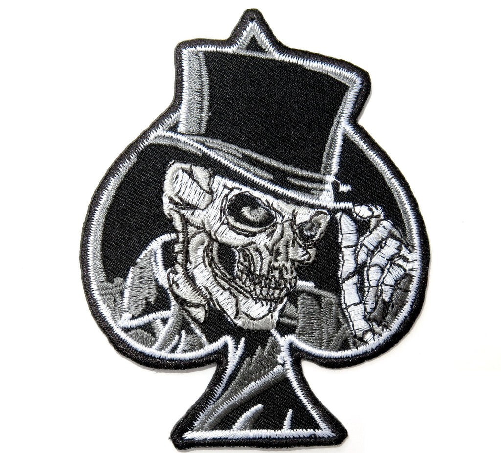 "Ace Of Spades Top Hat Reaper Skull Embroidered Iron Sew On Patch 3.8"" - A Patch E Store"