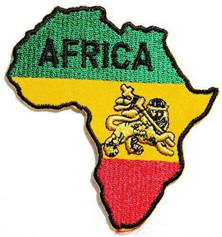 AFRICA Lion Judah Rasta Iron Sew On Embroidered Patch