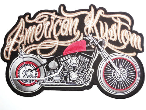 "American Kustom Motorcycle Big Embroidered Back Patch 9.6""/24cm - A Patch E Store"