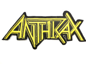"ANTHRAX Gold Cut Out Logo Iron On Embroidered Patch 4.9""/12cm - A Patch E Store"