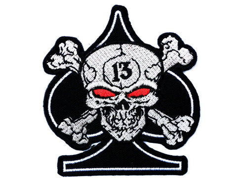 "Ace Of Spades Skull 13 Biker Iron On Sew On Patch 3.1""/8.2cm"