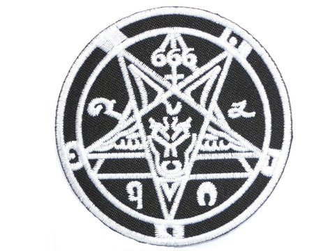 "666 Baphomet Pentagram Iron On Sew On Embroidered Patch 3""/7.5cm"
