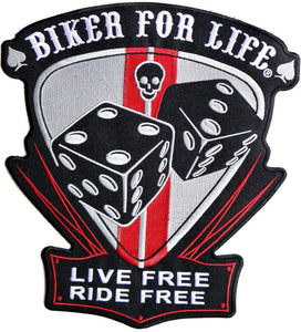 "BIKER FOR LIFE LIVE FREE RIDE FREE Big Back Patch 11.7""/29.8cm - A Patch E Store"