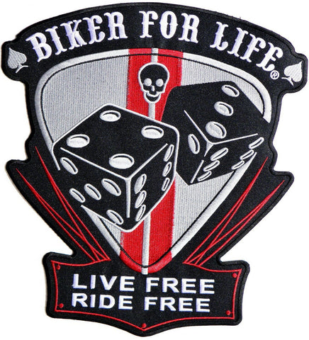 "BIKER FOR LIFE LIVE FREE RIDE FREE Big Back Patch 11.7""/29.8cm"