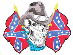 "Cowboy Skull USA Rebel Flag Big Embroidered Back Patch 9""/23cm - A Patch E Store"