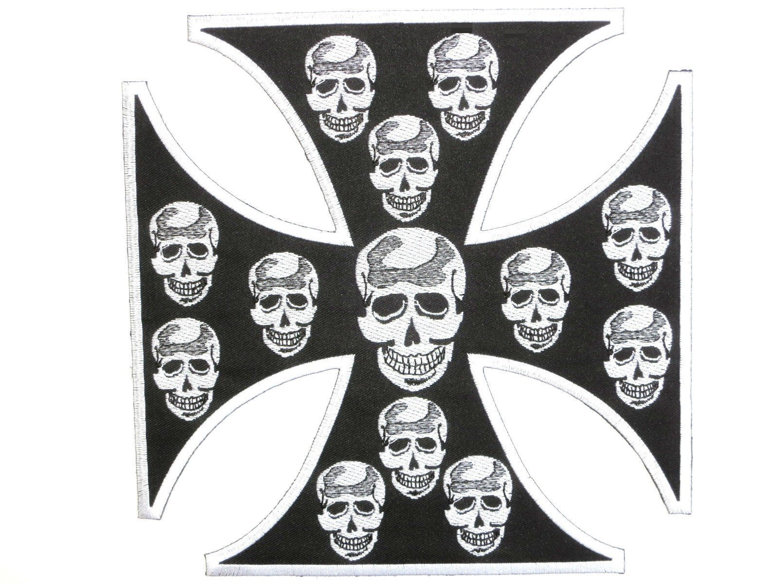 "Maltese Skull Cross Biker Big Embroidered Back Patch 8.2""/21cm - A Patch E Store"