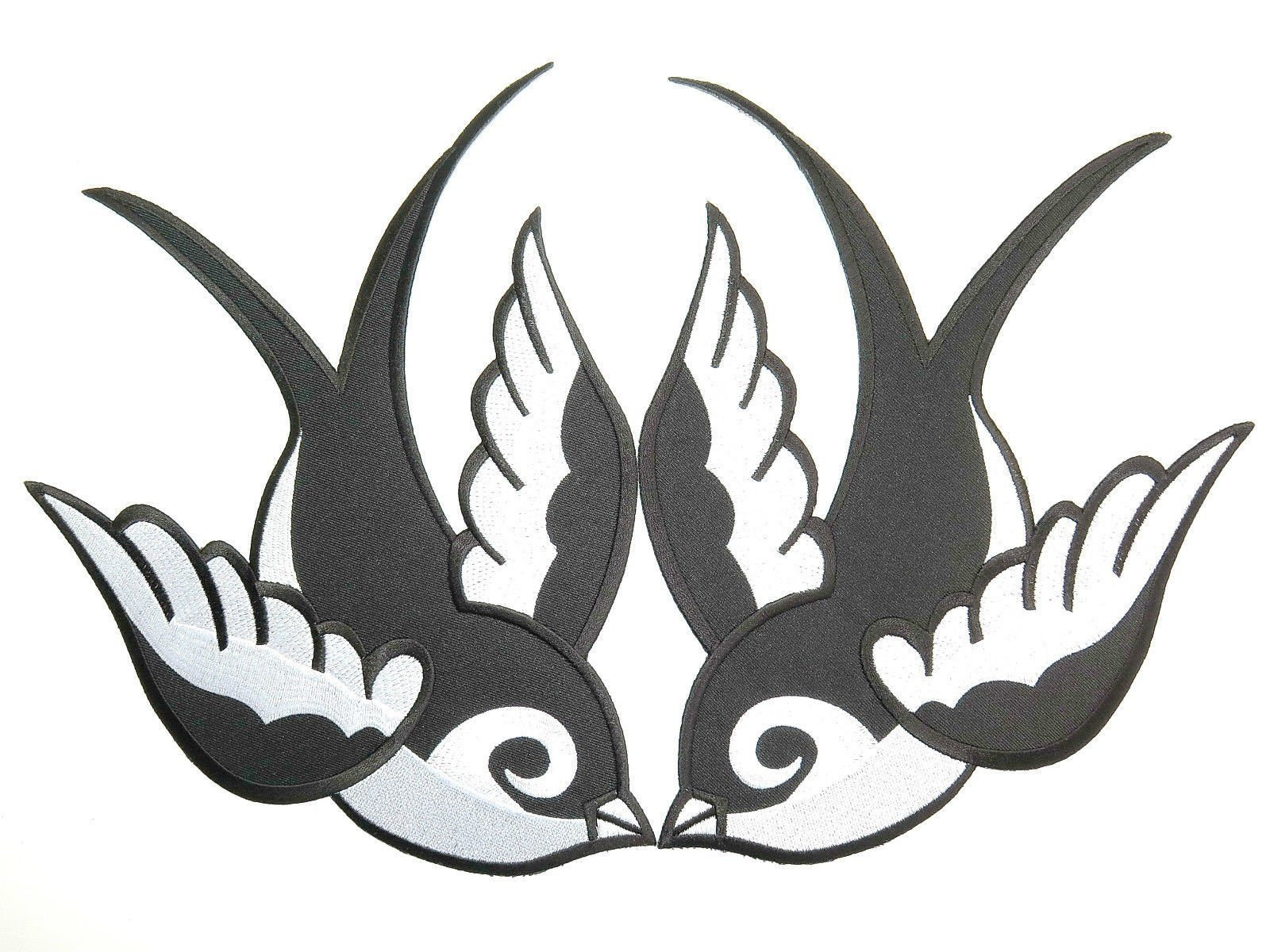 "2x SWALLOWS Rockabilly Biker Big Embroidered Back Patch 11.2""/28.5cm - A Patch E Store"