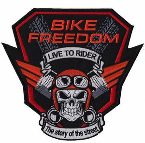 "Bike Freedom Piston Skull Rider Biker Big Embroidered Back Patch 9""/23cm - A Patch E Store"