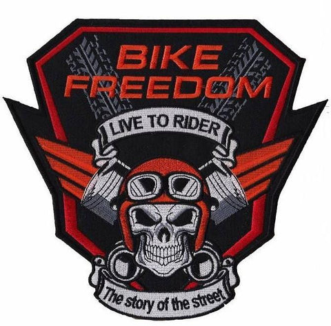"Bike Freedom Piston Skull Rider Biker Big Embroidered Back Patch 9""/23cm"