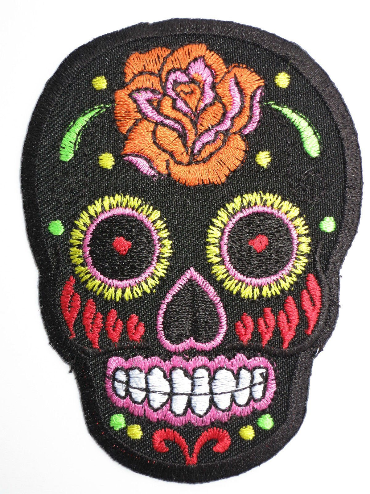 "Rockabilly Biker Sugar Skull Iron On Embroidered Patch 3.5""/9cm - A Patch E Store"