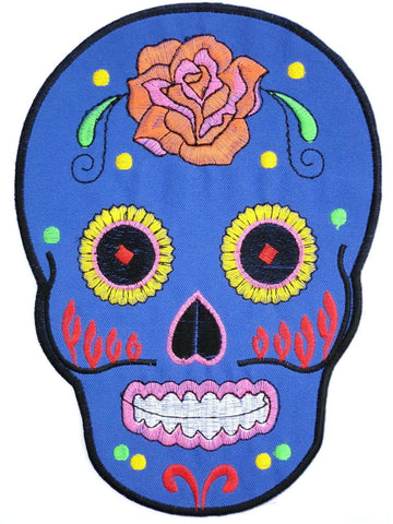 "Blue Tribal Sugar Skull Rockabilly Muertos Big Back Patch 8.4""/15.5cm"