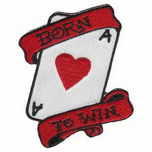 Born To Win Ace Of Hearts Rockabilly Embroidered Iron On Patch - A Patch E Store