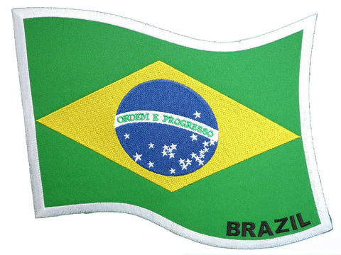 "Brazil Brazilian Flag Embroidered Big XL Vest Jacket Back Patch 9""/23cm"